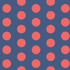 Slate blue and peach polka dots