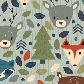 Woodland Creatures Blue