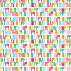 happy birthday XSM rainbow UPPERcase
