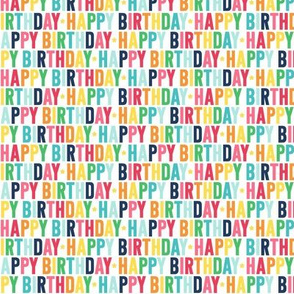 happy birthday XSM rainbow with navy UPPERcase