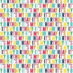 its my birthday XSM rainbow with navy UPPERcase