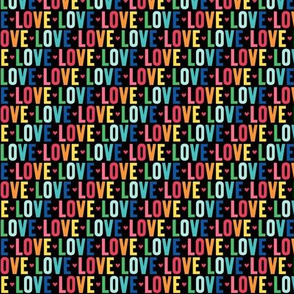 love XSM rainbow on black UPPERcase