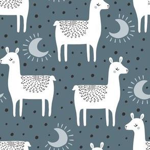 llama moons // blue
