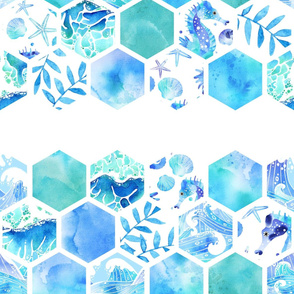 Ocean Themed Hexagonal Watercolor Tiles