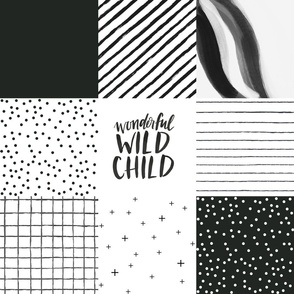 wonderful wild child black and white cheater quilt