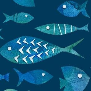 Watercolor Fish on Dark Blue - Large