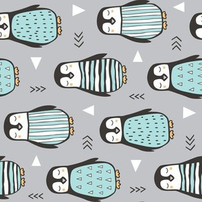 Penguins with Sweater Geometric  and Triangles Grey Rotated