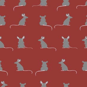Sweet, little rodent rats. Red background.