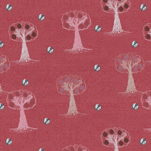 Forest river promenade Red background By Kaorina (Toile de Jouy pattern)