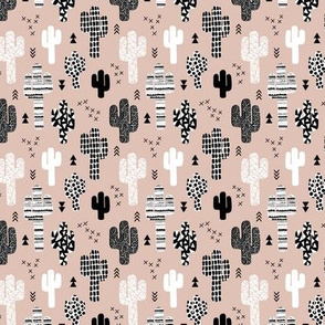 Cool western geometric cactus garden with triangles and arrows gender neutral beige black and white SMALL