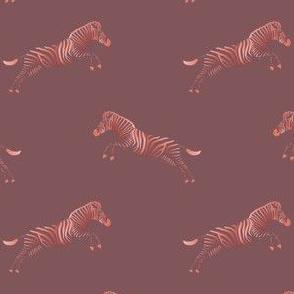 Zebra pattern. Rose Brown background.