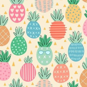 Pineapple Party - multi color on Light yellow
