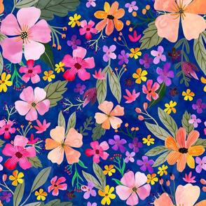 """16"""" Floral Field - navy"""