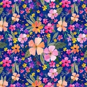 """4"""" Floral Field - navy"""