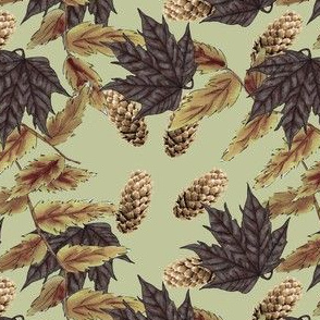 Pine Cones & Leaves on Yellow