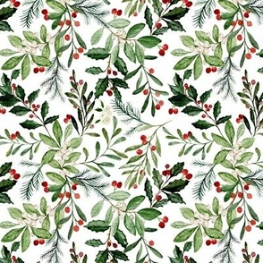 "5.25"" Mistletoe Holly Christmas Florals // White"