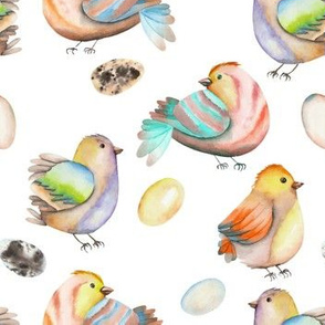 Watercolor Baby Birds