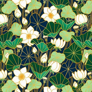 Lily pond small scale floral bohemian pattern