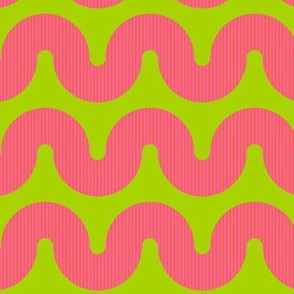 Pink squiggles with orange stripes on lime green