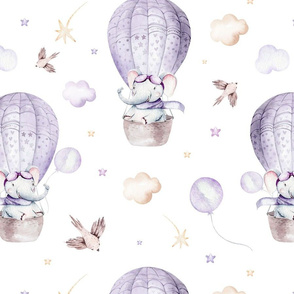 Watercolor baby elephant cartoon cute animal purple pattern 5