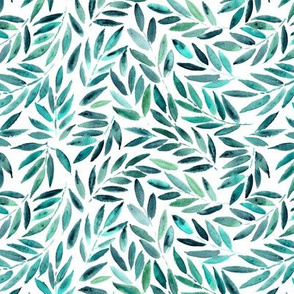 Small scale emerald Japanese leaves - watercolor painted leaf pattern