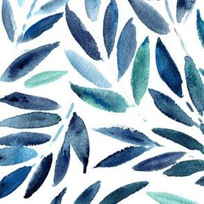 Blue Japanese leaves - watercolor tropical leaf pattern
