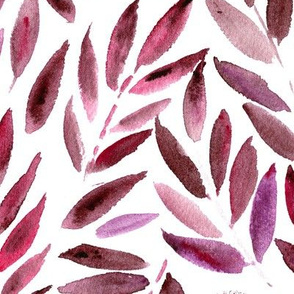 Burgundy Japanese leaves ★ large scale watercolor fall leaf design for modern home decor, bedding