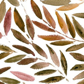 Japanese leaves watercolor ★ painted earthy natural tones leaf pattern for modern home decor, bedding, nursery