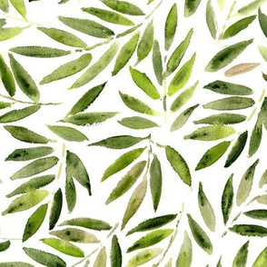 Japanese leaves ★ watercolor jungle greenery for modern home decor, bedding, nursery