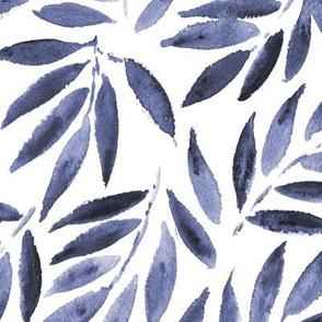 Indigo Japanese leaves watercolor tropics p278
