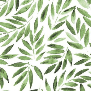 Jade green Japanese leaves watercolor for modern home decor, bedding, nursery