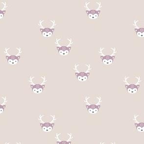 Sweet forest animals baby deer bambi love boho nursery beige mauve girls