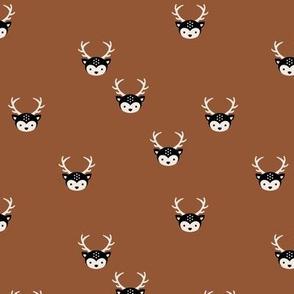 Sweet forest animals baby deer bambi love boho nursery neutral rust copper brown