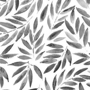 Noir Japanese leaves - watercolor grey leaf pattern p278