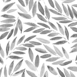 Platinum grey Japanese leaves watercolor ★ painted black and white leaves for modern scandi home decor, bedding, nursery