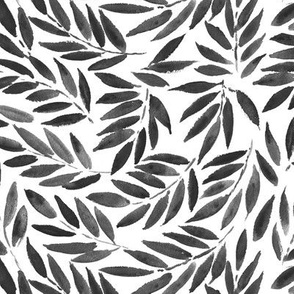 Noir Japanese leaves - watercolor nature in grey shades p278
