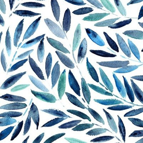 Japanese leaves in blue ★ watercolor leaf pattern for modern home decor, bedding, nursery