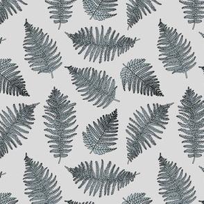 Botanical summer garden green fern boho nursery forest tropical plant neutral soft cool gray
