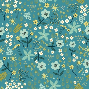 "32"" Floral field - Dusty Blue"