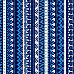 Aztec folklore indian pattern in winter eclectic blue rotated
