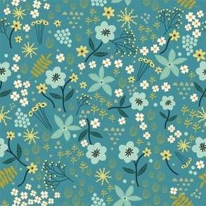 "8"" Floral field - Dusty Blue"