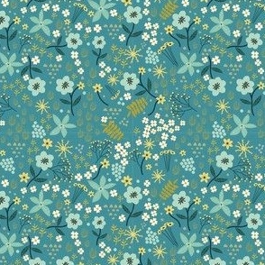 "4"" Floral field - Dusty Blue"