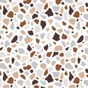 Minimal terrazzo texture abstract scandinavian trend classic basic spots design spring summer beige copper brown on white neutral