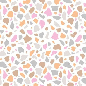 Minimal terrazzo texture abstract scandinavian trend classic basic spots design spring summer pink coral gray