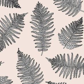 Botanical summer garden green fern boho nursery forest tropical plant neutral forest beige gray LARGE