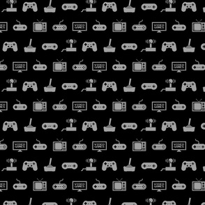 Video Games Pattern in Gray with Black Background