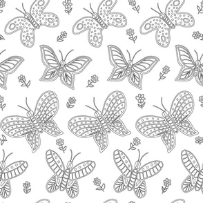 Butterfly Floral Outlines Black and White