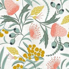 Flora Australis - White Floral Botanical Regular Scale