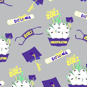 Covid Graduation 2021 Purple and Yellow TP