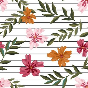 Pink and mustard flowers on stripes